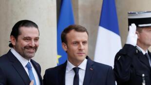 Le Premier ministre libanais Saad Hariri sur le perron de l'Elysée, à côté du président français Emmanuel Macron, le 18 novembre 2017.