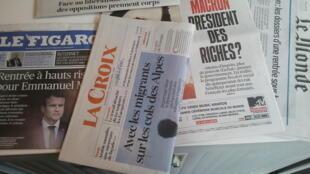 Primeiras páginas dos jornais franceses de 28 de agosto de 2017