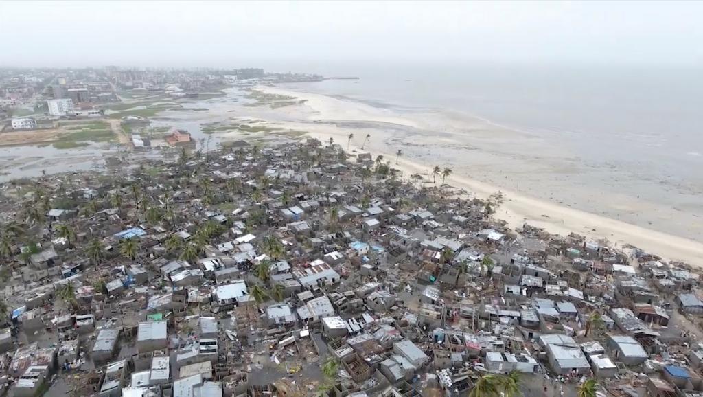 Picha ya mji wa Beira iliyopigwa mnamo Machi 18 baada ya kimbunga kupiga nchini Msumbiji.