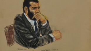 Dessin d'Omar Khadr lors de son procès à Guantanamo, le 30 octobre 2010.
