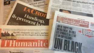 Primeiras páginas dos jornais franceses de 03 de maio de 2018