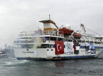 Le bateau turc «Mavi Marmara» sortant du port de Sarayburnu à Istanbul le 22 mai 2010.