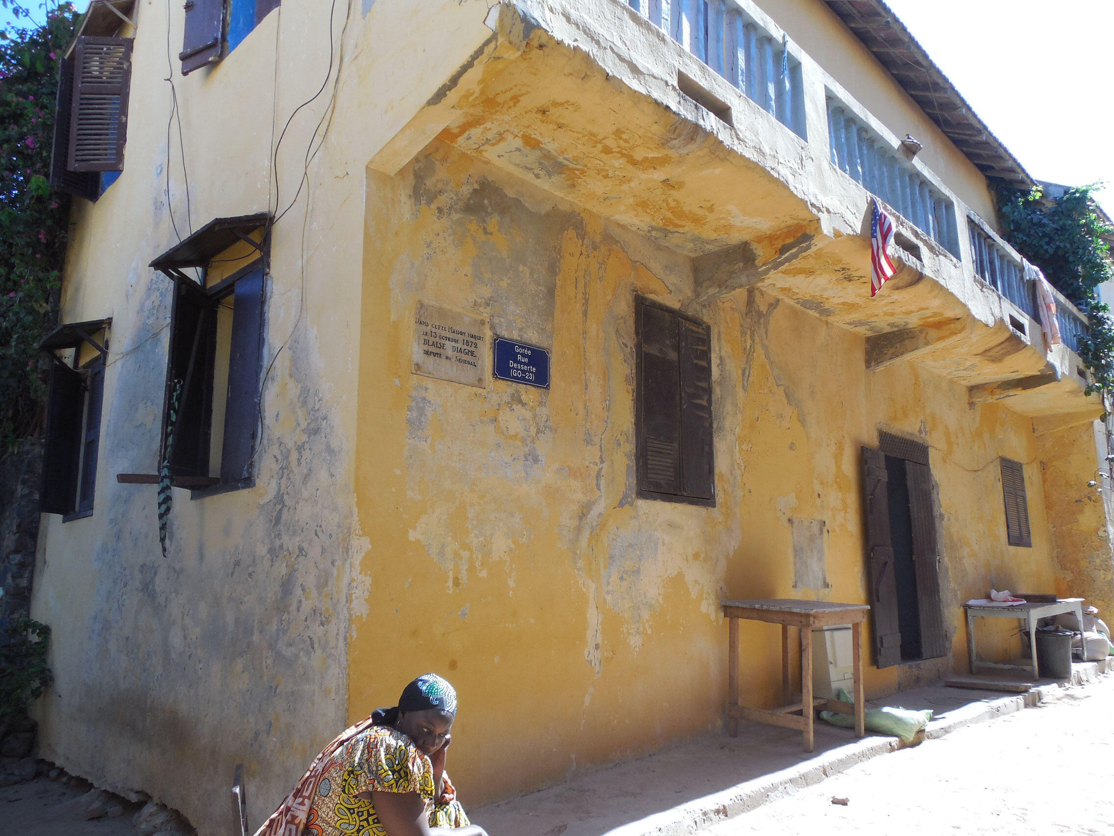 Sur l'île de Gorée, la maison où est né Blaise Diagne, chargé du recrutement des Tirailleurs et premier député noir à l'Assemblée nationale.