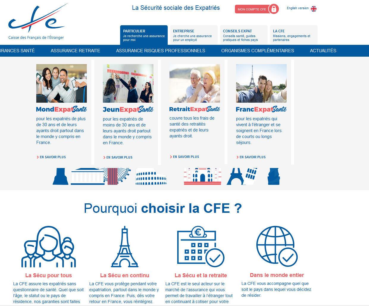 La page d'accueil de la caisse des Français de l'étranger.
