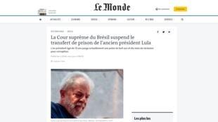 Le Monde deu destaque à situação do ex-presidente Luiz Inácio Lula da Silva.