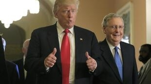 Donald Trump with Republican Senate leader Mitch McConnell on 10 November 2016, in Washington.