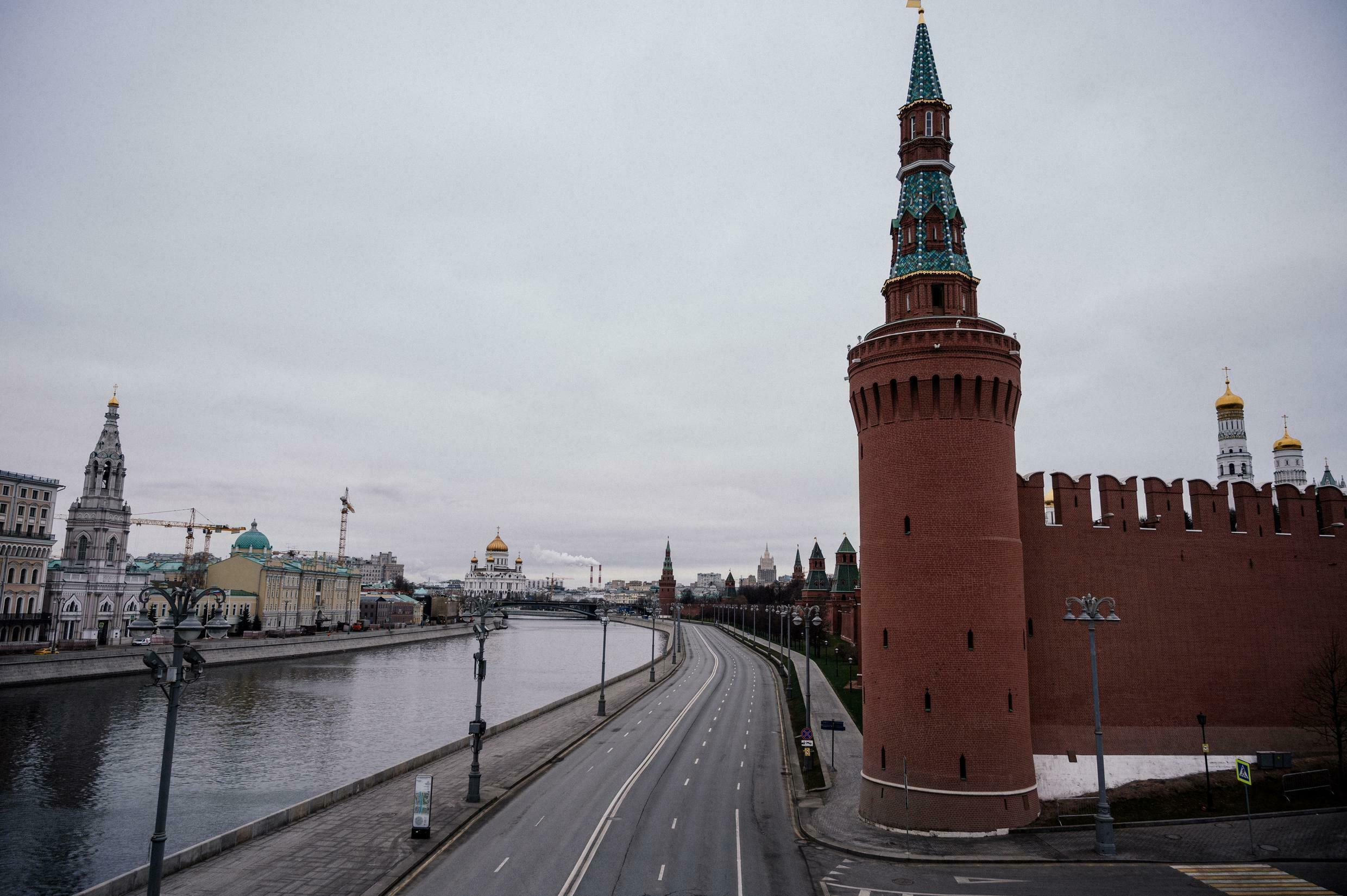 Moscow's have emptied since the lockdown came into force on Monday