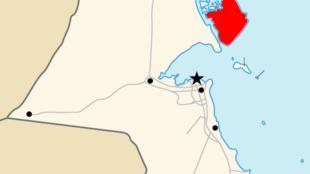 Ce sont les opérations de construction du port koweïtien Moubarak el-Kabir sur l'île de Boubiyan (ici en rouge) qui provoquent la colère de l'Irak.