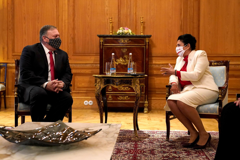 Госсекретарь США Майк Помпео на встрече с президентом Грузии Саломе Зурабишвили, Тбилиси, 18 ноября 2020 г.