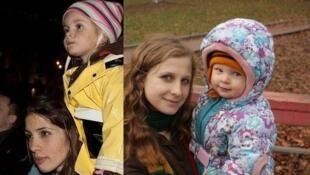 Надя Толокно и Мария Алехина с детьми