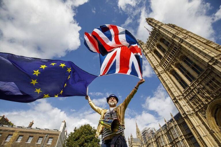 Manifestante contrario al Brexit en Londres