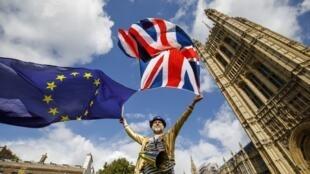 Un pro-Européen manifeste devant le Parlement à Londres, contre le premier vote du projet de loi visant à mettre fin à l'adhésion de la Grande-Bretagne à l'UE, le 11 septembre 2017.