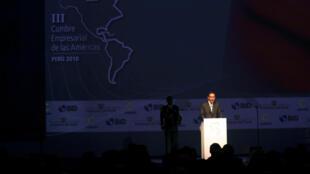 Le président péruvien Martin Vizcarra lors de l'ouvre du Sommet des Amériques à Lima, le 12 avril 2018.