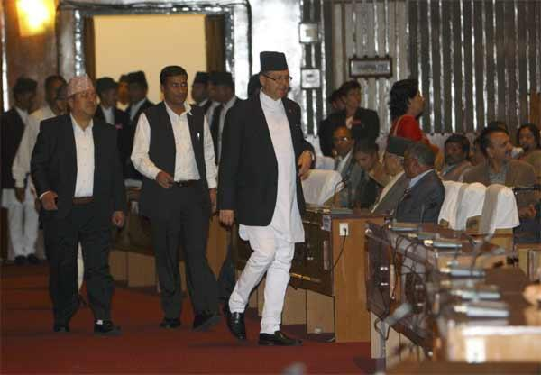 Prime Minister Jhala Nath Khanal arrives at the constitution assembly session