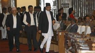 Prime Minister Jhala Nath Khanal arrives at the constitution assembly session