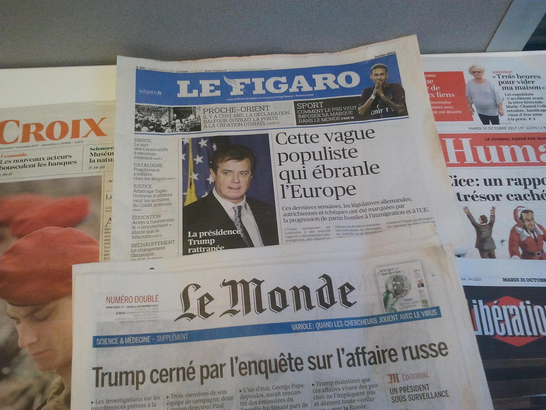 Primeiras páginas dos jornais franceses de 31 de outubro de 2017