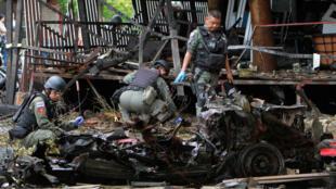 Cảnh sau vụ nổ trước khách sạn  Southern ở Pattani, cực nam Thái Lan, ngày 24/08/2016.