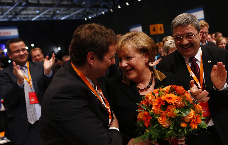 La chancelière allemande à l'annonce de sa réélection à la tête de la CDU, mardi 4 décembre 2012.