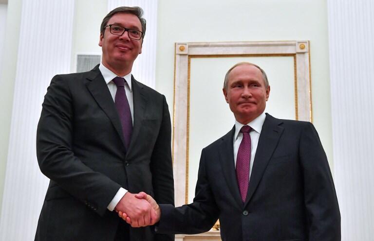 Президент Сербии Александр Вучич и Владимир Путин в Москве, октябрь 2018
