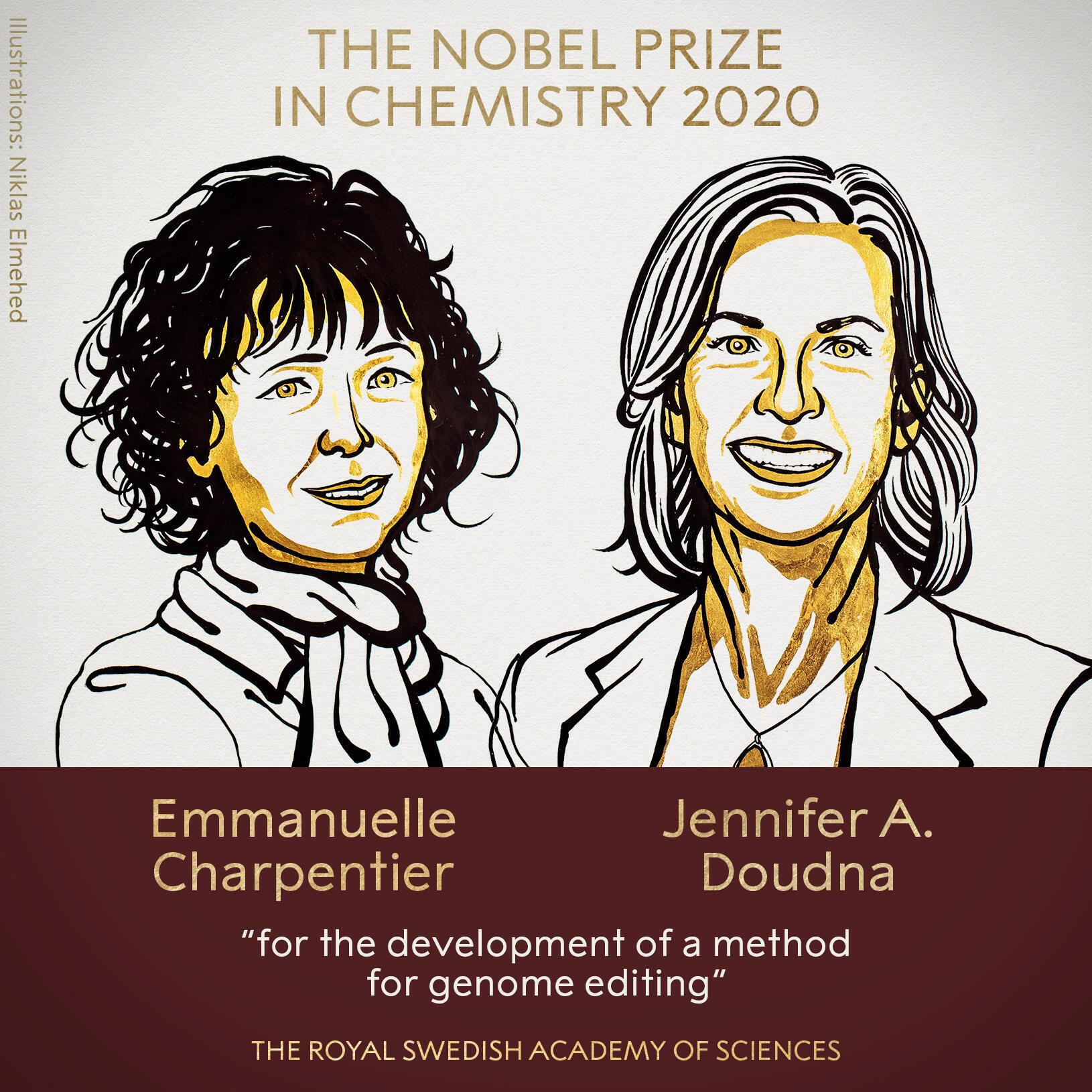 Ba Faranshiya Emmanuelle Charpentier da Ba-Amurkiya Jennifer Doudna, da suka lashe kayautar Nobel ta Chemistry