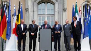 Ngoại trưởng 6 nước sáng lập Liên Hiệp Châu Âu: Luxembourg, Ý, Đức, Bỉ, Pháp, Hà Lan trong cuộc họp báo tại Berlin ngày 25/06/2016.