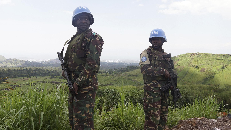 Des soldats tanzaniens de la Mission des Nations unies pour la RDC (Minusco), le 6 octobre 2013, à proximité de Goma
