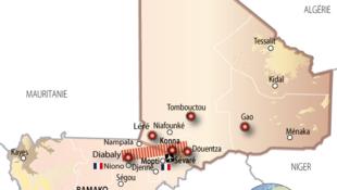 Mapa do Mali, onde as tropas francesas realizam seu oitavo dia de operação para combater grupos radicais islâmicos.