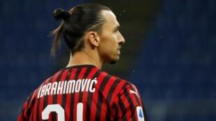 Zlatan Ibrahimovic (Milan AC), lors du match contre la Juventus, le 7 juillet 2020.