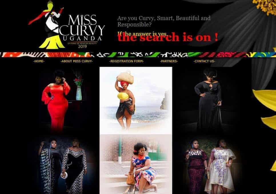 The homepage of the Miss Curvy Uganda 2019 website.
