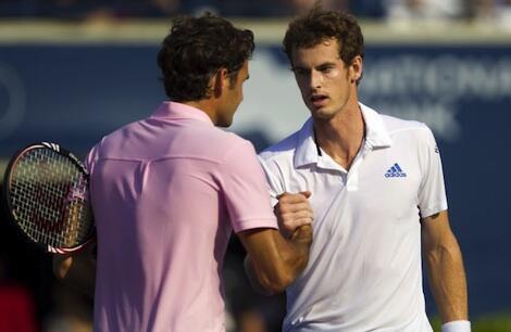 Roger Federer da Andy Murray a gasar Wimbledon a shekarar 2012