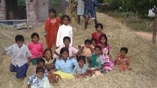Children in a Dalit village near Madurai, Tamil Nadu, India.