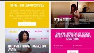 Capture d'écran du site de MTV consacré à la série télévisée «Shuga».