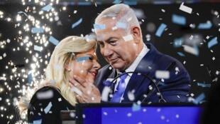 Benyamin Netanyahu et son épouse, à Tel Aviv,  le 9 avril 2019.