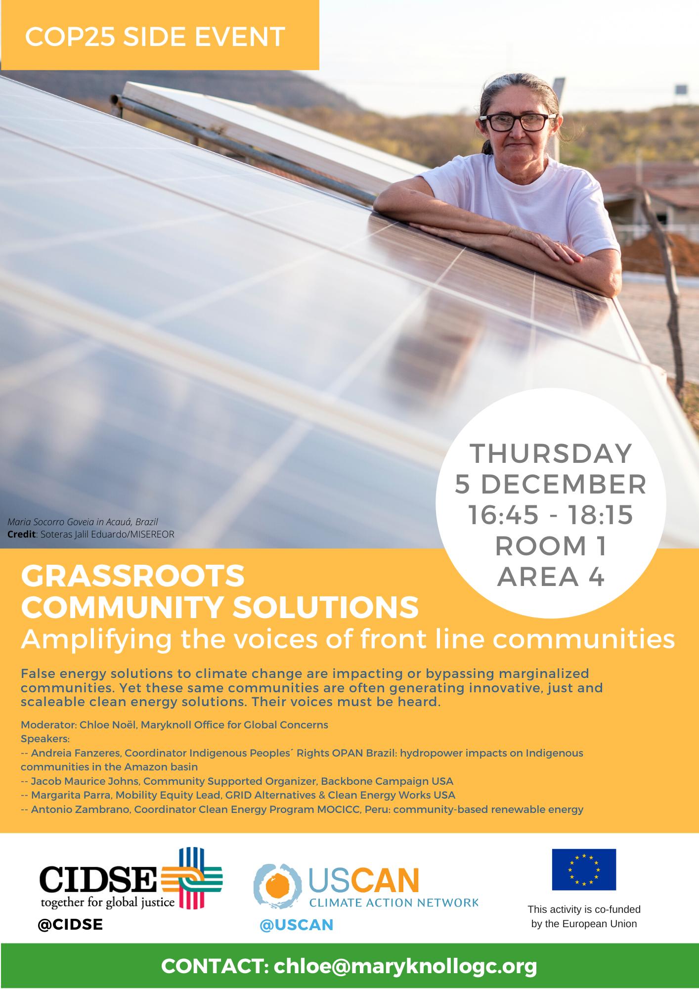 Evento paralelo COP25: Soluções comunitárias