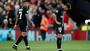 Paris Saint-Germain's Kylian Mbappe (left) and Neymar ponder what might have been after Liverpool's late winner at Anfield.