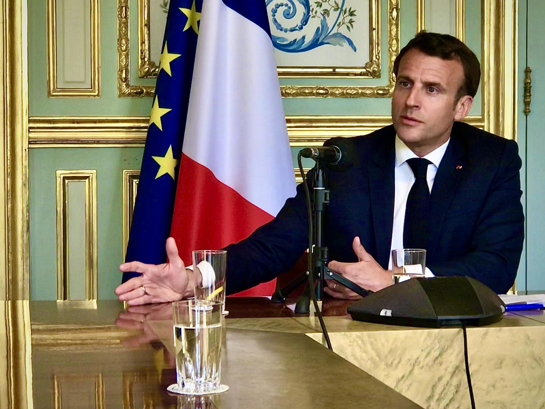 Le président français Emmanuel Macron a consacré une interview exclusive à RFI, mardi 14 avril 2020, à l'Élysée.