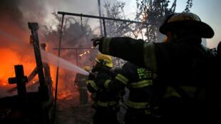 Пожарные тушат огонь в Хайфе, 24 ноября 2016 г.