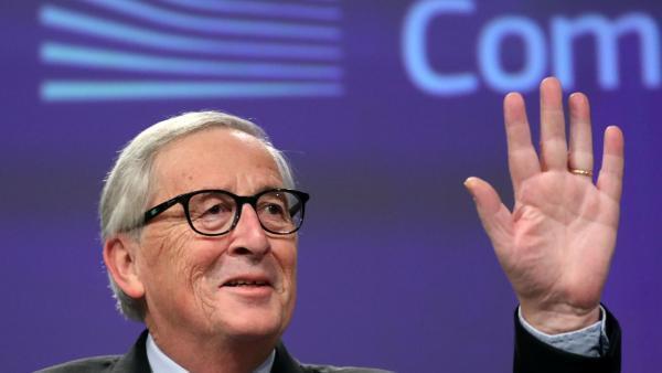 Le président sortant de la Commission européenne lors d'une dernière conférence de presse au siège de la Commission européenne ponctuée de piques, d'anecdotes, de traits d'esprit et de moments d'émotion, à Bruxelles, le 29 novembre 2019..