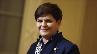 A  primeira-ministra da Polónia , Beata Szydlo, em Varsóvia. 13 Janeiro 2016.