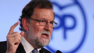 Le Premier ministre espagnol Mariano Rajoy, à Barcelone au siège du Parti populaire, le 15 septembre.