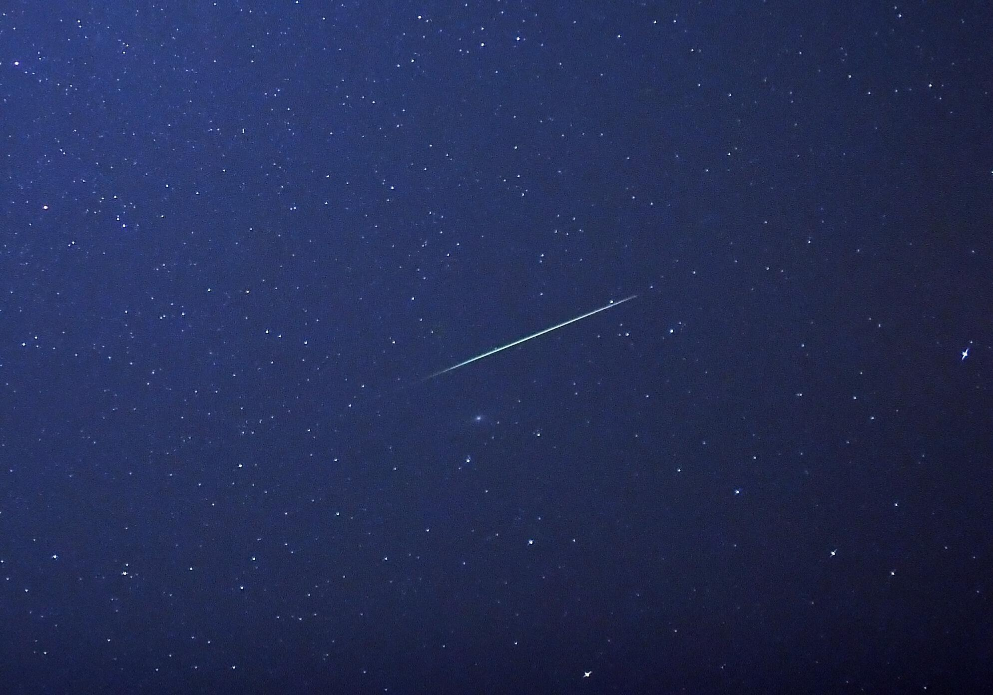 A shooting star in the German night sky. December 13 and 14 will be the best nights to watch the Geminid meteor shower.