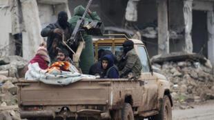 Combattants rebelles dans le nord de la Syrie, dans la ville de al-Rai, le 5 janvier 2017 (photo d'illustration)