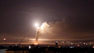 Ataques israelitas em Damasco durante a noite de 9 de Maio de 2018.
