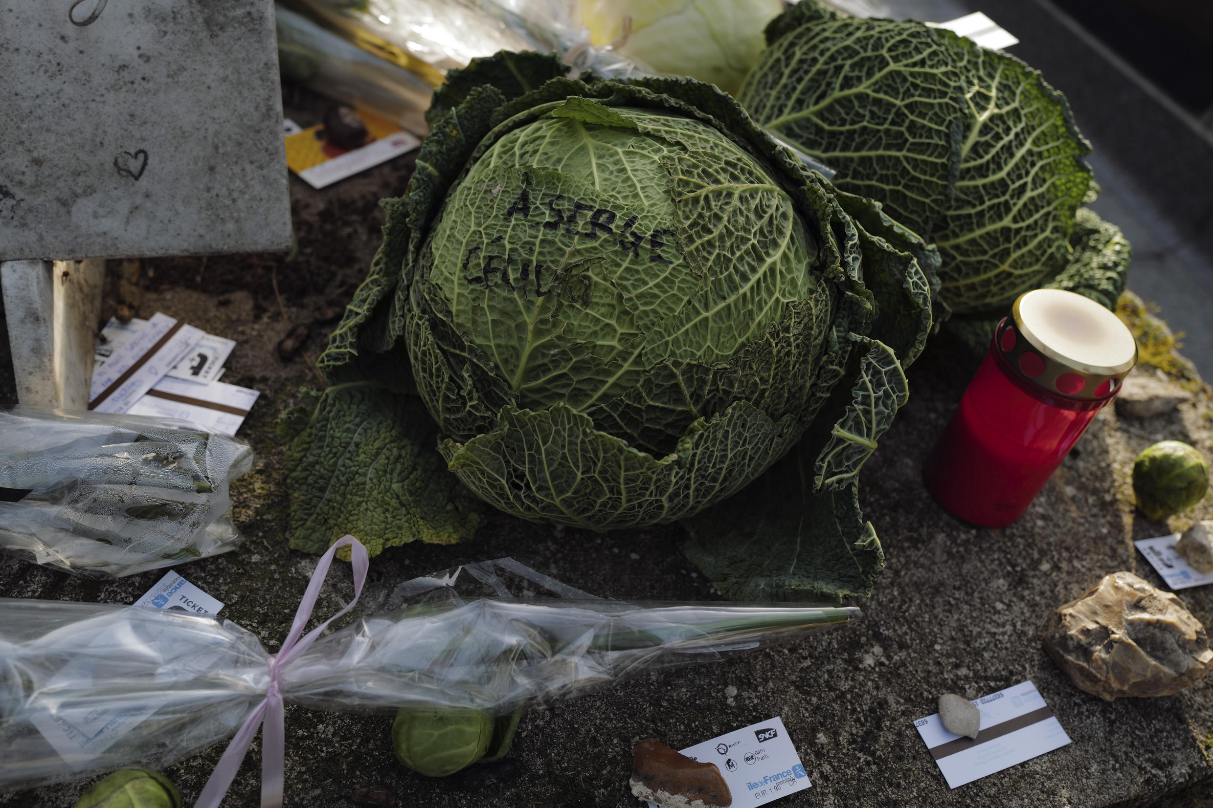 """Cabbages and subway tickets decorate the grave of late French musician, song writer and singer Serge Gainsbourg at Montparnasse cemetery in Paris, France, Tuesday March 2, 2021. Three decades after his death, Gainsbourg's music has reached legendary stature in France, and he has also gained a cult following in the English-speaking world with chart success in the United Kingdom and the United States with """"Je t'aime... moi non plus"""" and """"Bonnie and Clyde"""", respectively."""