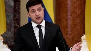 Doing it for the dog: Ukrainian President Volodymyr Zelensky.
