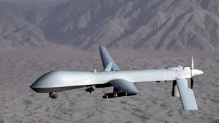 A US military photo shows an MQ-1 Predator drone aircraft over an undisclosed location
