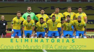 Le Onze du Brésil aligné contre l'Equateur avant leur match éliminatoire de Coupe du monde, le 4 juin 2021 à Porto Alegre