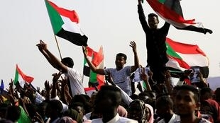 Sudanese protesters on the streets of Khartoum.