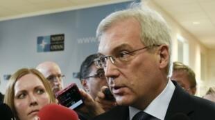 Alexander Grushko, le représentant russe à l'Otan, face à la presse lors du dernier Conseil Otan-Russie, le 20 avril 2016 à Bruxelles.