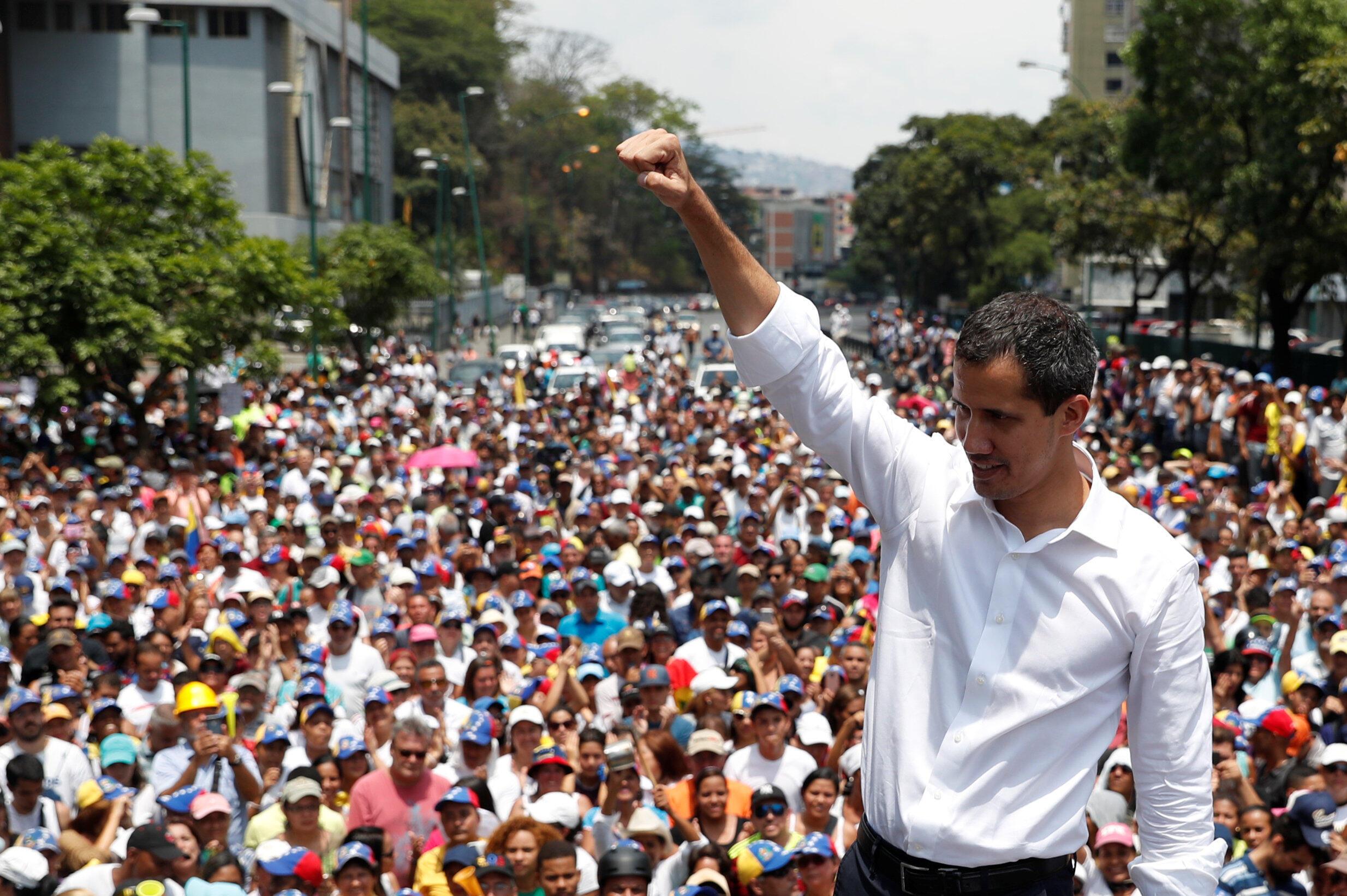 Lãnh đạo đối lập Venezuela Juan Guaido trong một cuộc mít tinh ngày 01/05/2019.